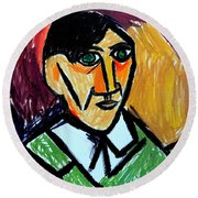 Pablo Picasso 1907 Self-portrait Remake Round Beach Towel