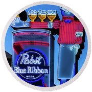 Pabst Blue Ribbon Neon Sign Fremont Street Round Beach Towel by Aloha Art