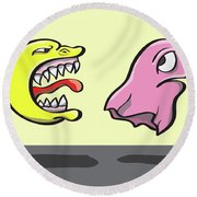 Pac Man And Ghost Illustration Round Beach Towel