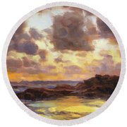 Pacific Clouds Round Beach Towel