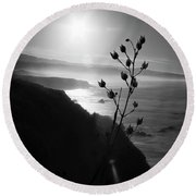 Pacific Coast B/w Round Beach Towel