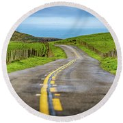 Pacific Coast Road To Tomales Bay Round Beach Towel