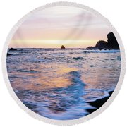 Round Beach Towel featuring the photograph Pacific Coast Sunset by TL Mair