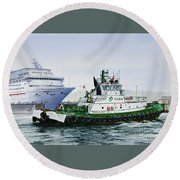 Round Beach Towel featuring the painting Pacific Escort Cruise Ship Assist by James Williamson