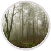 Pacific Northwest Foggy Morning Forest Scene Round Beach Towel