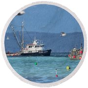 Pacific Ocean Herring Round Beach Towel by Randy Hall