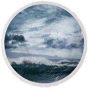 Round Beach Towel featuring the photograph He Inoa Wehi No Hookipa  Pacific Ocean Stormy Sea by Sharon Mau