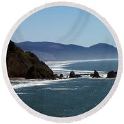 Pacific Ocean View 2 Round Beach Towel