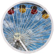 Pacific Park Ferris Wheel Round Beach Towel