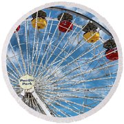 Pacific Park Ferris Wheel Round Beach Towel