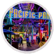 Pacific Park - On The Pier Round Beach Towel