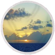 Pacific Sunrise, Japan Round Beach Towel by Susan Lafleur