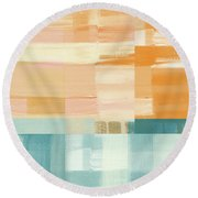 Pacific Sunset- Abstract Art By Linda Woods Round Beach Towel