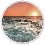 Pacific Sunset With Boat Wash Round Beach Towel