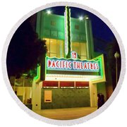 Round Beach Towel featuring the photograph Pacific Theater - Culver City by Chuck Staley