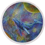 Round Beach Towel featuring the painting Pacific Whale In Space by Amelie Simmons