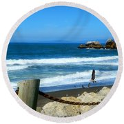 Round Beach Towel featuring the photograph Pacifica Coast by Glenn McCarthy Art and Photography