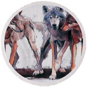 Pack Leaders Round Beach Towel by Mark Adlington