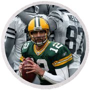 Packers Aaron Rodgers Round Beach Towel