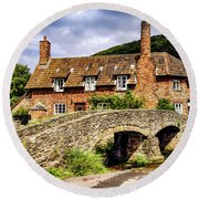 Packhorse Bridge At Allerford, Uk Round Beach Towel by Chris Smith