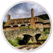 Packhorse Bridge At Alllerford, Uk Round Beach Towel by Chris Smith