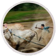 Pacu Jawi Bull Race Festival Round Beach Towel