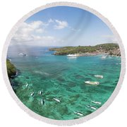 Padang Bai Panorama In Bali Round Beach Towel