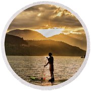 Paddle Boarder In Summit Cove Round Beach Towel