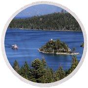 Paddle Boat Emerald Bay Lake Tahoe California Round Beach Towel