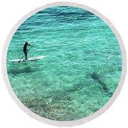 Paddle The Aqua Sea Round Beach Towel