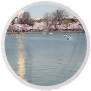 Paddleboating At Cherry Blossom Time In Washington Dc Round Beach Towel