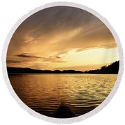 Paddling At Sunset On Kekekabic Lake Round Beach Towel by Larry Ricker