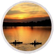 Paddling Back To Camp Round Beach Towel