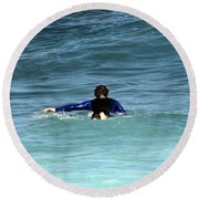 Paddling Out Round Beach Towel