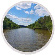 Paddling Up Crooked Creek Round Beach Towel