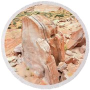 Round Beach Towel featuring the photograph Pages Of Stone In Valley Of Fire by Ray Mathis