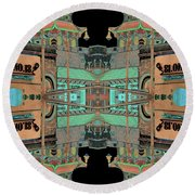 Pagoda Tower Becomes Chinese Lantern 1 Chinatown Chicago Round Beach Towel by Marianne Dow