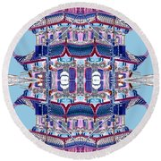 Pagoda Tower Becomes Chinese Lantern 2 Chinatown Chicago Round Beach Towel by Marianne Dow