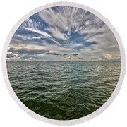 Paint Brush Sky - Ft Myers Beach Round Beach Towel by Christopher L Thomley