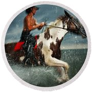 Paint Horse Running In The Water Round Beach Towel