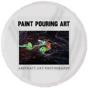 Paint Pouring Collection Round Beach Towel by Modern Art Prints