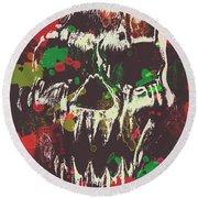 Paint Splash Skull Round Beach Towel
