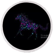Round Beach Towel featuring the painting Paint Splattered Pony by Nick Gustafson