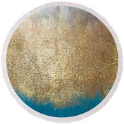 Paint The Sky Gold Round Beach Towel