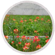 Paintbrushes And Fence Posts Round Beach Towel