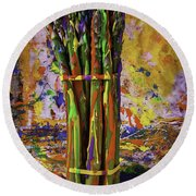 Painted Asparagus Round Beach Towel by Garry Gay