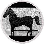 Round Beach Towel featuring the photograph Painted Black - Stone Pony by Colleen Kammerer