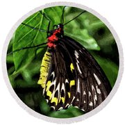 Painted Butterfly Round Beach Towel