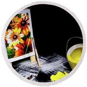 Painted Canvas Round Beach Towel