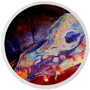 Painted Cave Skull Round Beach Towel